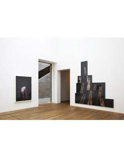 Jo Longhurst, L: Installation view: <em>Peak</em>, 2012, chromogenic print in white wood box frame with plexiglas, 168 x 117cm.<br /><br />R: Installation view: <em>Pinnacle</em>, 2012, 11 chromogenic prints in powder coated metal frames, 2.87m x 3.15m  (overall). Mostyn, Llandudno, 2012