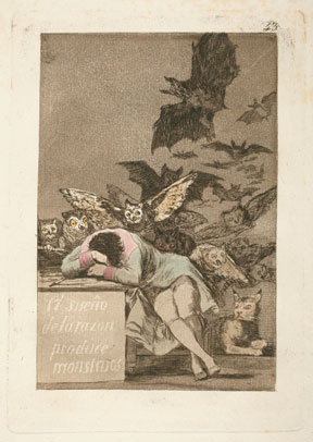 Francisco Goya y Lucientes. The sleep of reason produces monsters, 1799