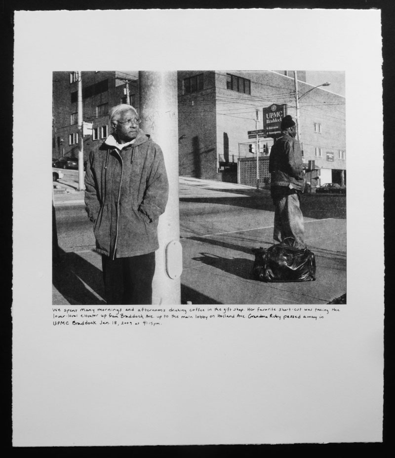 LaToya Ruby Frazier, <em>Grandma Ruby and UPMC</em> from the series <em>Campaign For Braddock Hospital (Save Our Community Hospital)</em>, 2011, photolithography and silkscreen, 43.18 cm x 35.56 cm