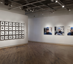 Emmanuelle Léonard, R: <em>Citizens, protest, March 15, 2009</em>, 102 cm x 90 cm inkjet prints. L: <em>Homicide, inmate vs. inmate, records from the Courthouse of the City of Québec</em>, 2009, 37 x 33 cm black and white inkjet prints. Installation View, Gallery 44, Toronto