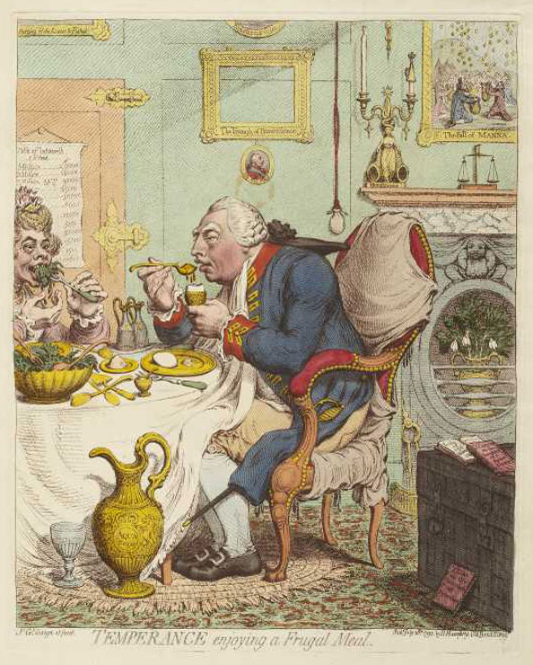James Gillray. Temperance Enjoying a Frugal Meal, 1792