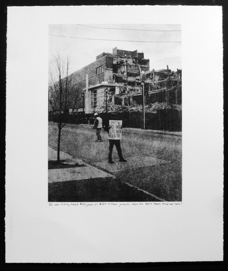 LaToya Ruby Frazier, <em>Race Base Class Base</em> from the series <em>Campaign For Braddock Hospital (Save Our Community Hospital)</em>, 2011, photolithography and silkscreen, 43.18 cm x 35.56 cm