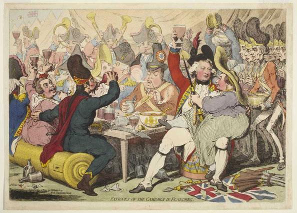 James Gillray. Fatigues of the Campaign in Flanders, 1793