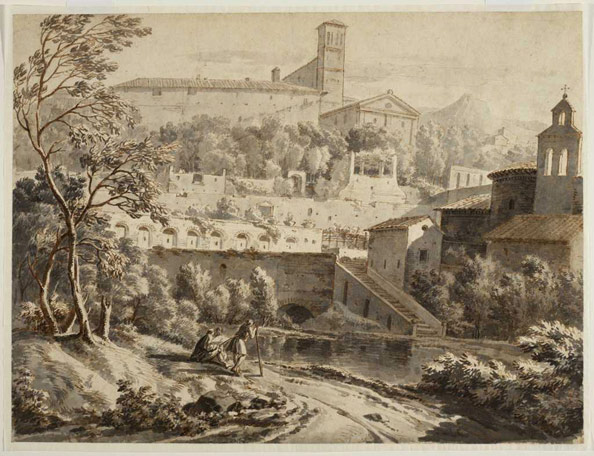 Constantin D'Aix. An Artist Sketching along a Riverbank, below an Italian town, c. 1780