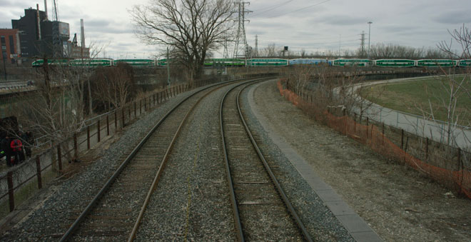 train tracks, GO train in distance