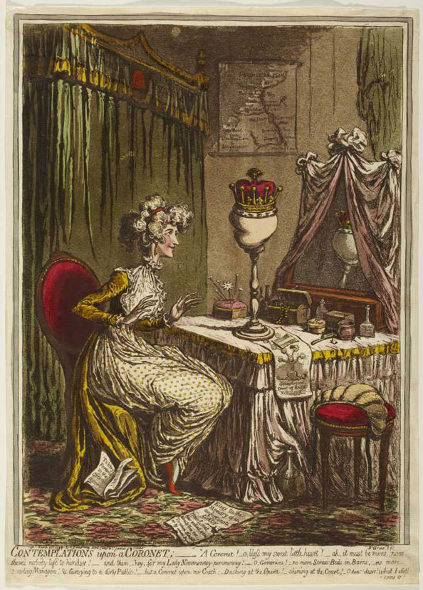 James Gillray. Contemplations upon a Coronet, 1797