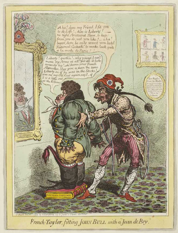 "James Gillray. French-Taylor, Fitting John Bull with a ""Jean de Bry"", 1799"