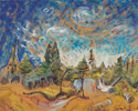 Emily Carr (Canadian, 1871 – 1945), <em>Trees in the Sky</em>, 1939, oil on canvas. Gift of Richard Ivey, 2008.