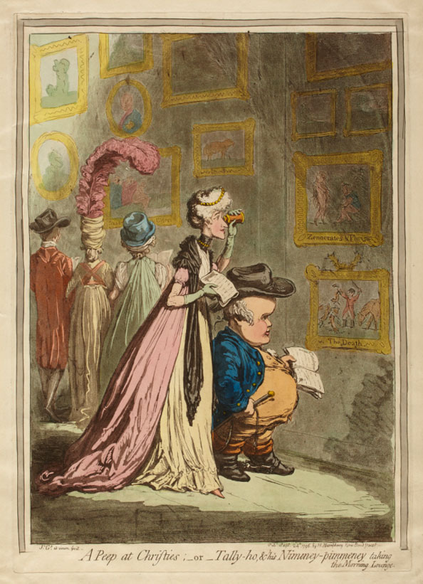 James Gillray. A Peep at Christie's; -or-Tally-ho, & his Mineney-pimmeney taking the Morning Lounge, 1796