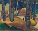 Emily Carr (Canadian, 1871 – 1945), <em>Kispiax Village</em>, 1929, oil on canvas.Purchased by the Art Gallery of Ontario, 1937.