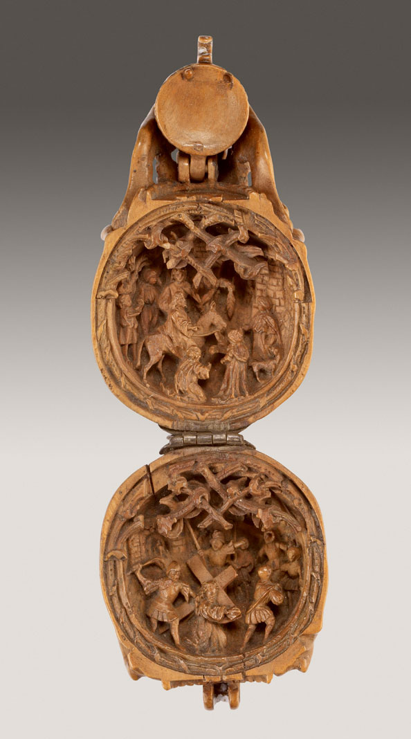 Unknown Artist, Germany (Nuremberg?), Prayer Bead in the Form of a Skull: Christ Entering Jerusalem, and Christ Carrying the Cross, 1515