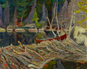 J.E.H. MacDonald (Canadian, 1873 – 1932), <em>The Beaver Dam</em>, 1919, oil on canvas. Gift from the Reuben and Kate Leonard Canadian Fund, 1926.