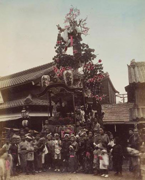 Unknown photographer, Dashi (a decorated cart for the religious celebration), Japan, 1880s