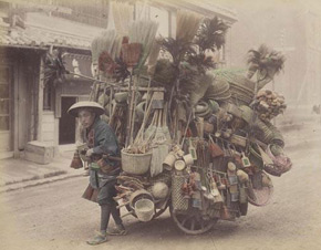 Unknown photographer, Basket seller, Japan, 1880s