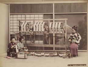 Unknown photographer, Manufacturing silk, Japan, 1880s