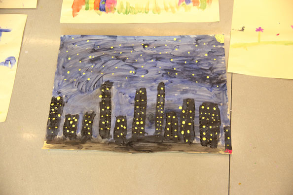 Child's painting of cityscape