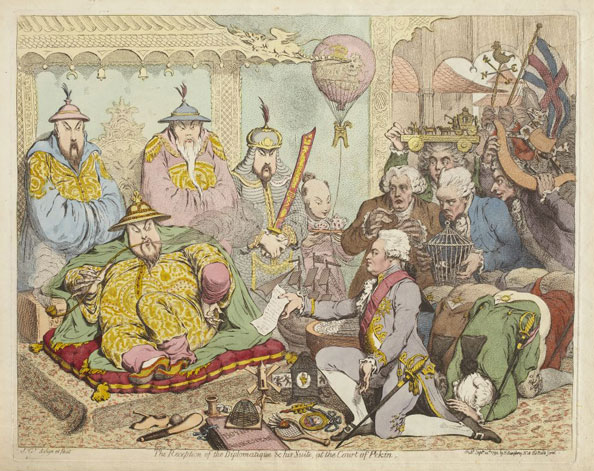 James Gillray. The Reception of the Diplomatique & His Suite, at the Court of Pekin, 1792