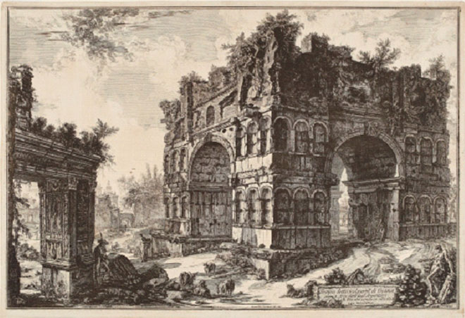 Giovanni Battista Piranesi: The Arch of Janus (Janus Quaditors) with the Arch of the Moneychangers, 1771