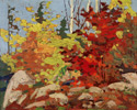 Tom Thomson (Canadian, 1877 – 1917), <em>Autumn Scene</em>, c. 1916, oil on panel. Collection of theToronto District School Board. Presented by J.W. Beatty to Truman W. Kidd, art teacher at Riverdale Collegiate, 1917, later officially purchased from the artist's estate by the Toronto Board of Education.