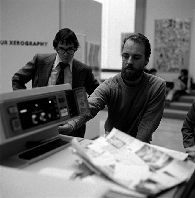 Michael Bidner demonstrating colour xerography during a workshop at the exhibition, 1976.