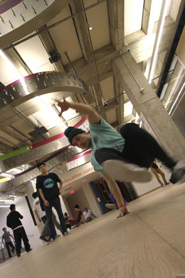 Teen break dancing in the WFLC, Art Gallery of Ontario