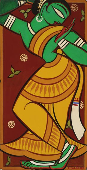 Painting of Dancing Gopi, Jamini Roy (1887-1972)