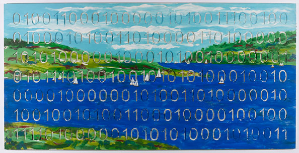 IAIN BAXTER& (Canadian, born 1936), LANDSCAPE WITH SAILBOATS (Digital Code Conversion Series), 2008