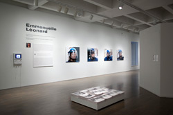Emmanuelle Léonard, installation view:<br /> F: <em>National Assembly of Quebec</em>, 2009, Newspapers, 12 pages, 32 cm x 36 cm each.<br /> B: <em>Citizens, protest, March 15, 2009</em>, 2009102 cm x 90 cm inkjet prints.