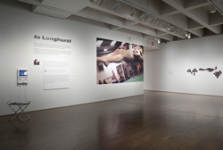 Jo Longhurst, installation view: <br /> L: <em>Suspension(1)</em>, 2012, from the series <em>Other Spaces</em>, vinyl, 366cm x 218cm.<br /> R: <em>A-Z</em>, 2012, from the series, <em>Other Spaces</em>, 215 dye sublimation prints, each 73mm x various heights, 10.25m x 95cm x 18mm (overall).