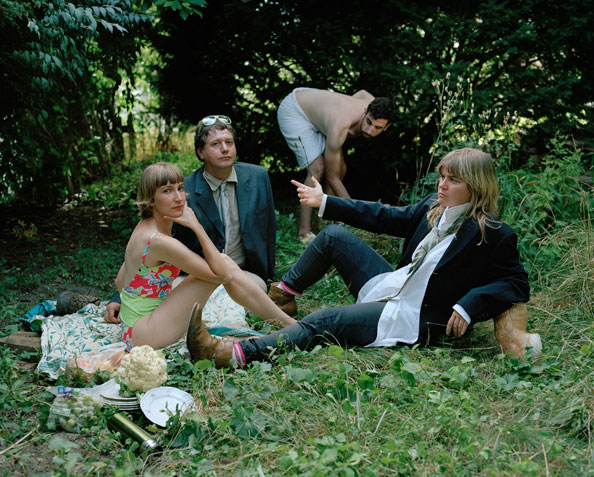 Portrait of Margaux Williamson with Sheila Heti, Ryan Kamstra and Sholem Krishtalka