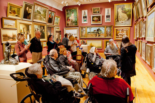 visitors with Alzheimer's or other forms of dementia in gallery