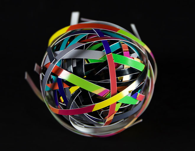 strips of paper in shape of a sphere