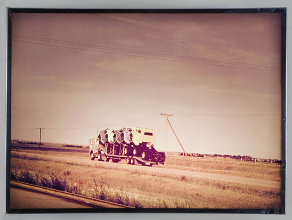 N.E. Thing Co., Still Life with 6 Trucks, Highway 1, Saskatchewan, 1968