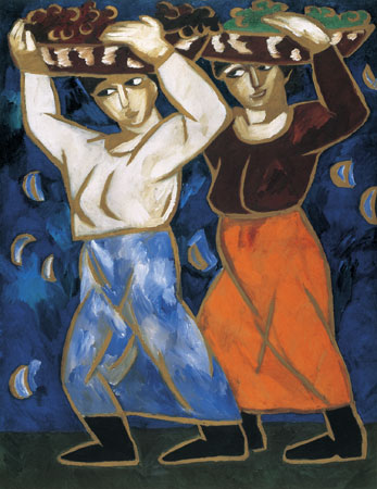 Natalia Gontcharova. Women Carrying Baskets of Grapes, 1911 (Les porteuses, 1911)
