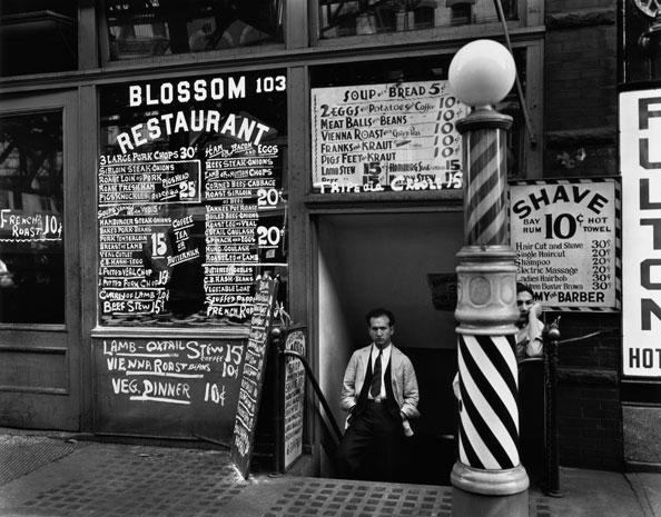 Berenice Abbott, Blossom Restaurant, 103 Bowery, New York, October 24, 1935