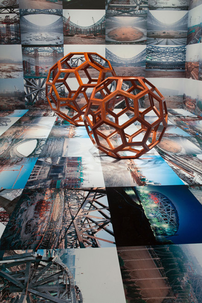 Ai Weiwei, Installation view (left to right) of Beijing's 2008 Olympic Stadium, 2005–2008; Divina Proportione, 2006; Ai Weiwei: According to What?, 2012