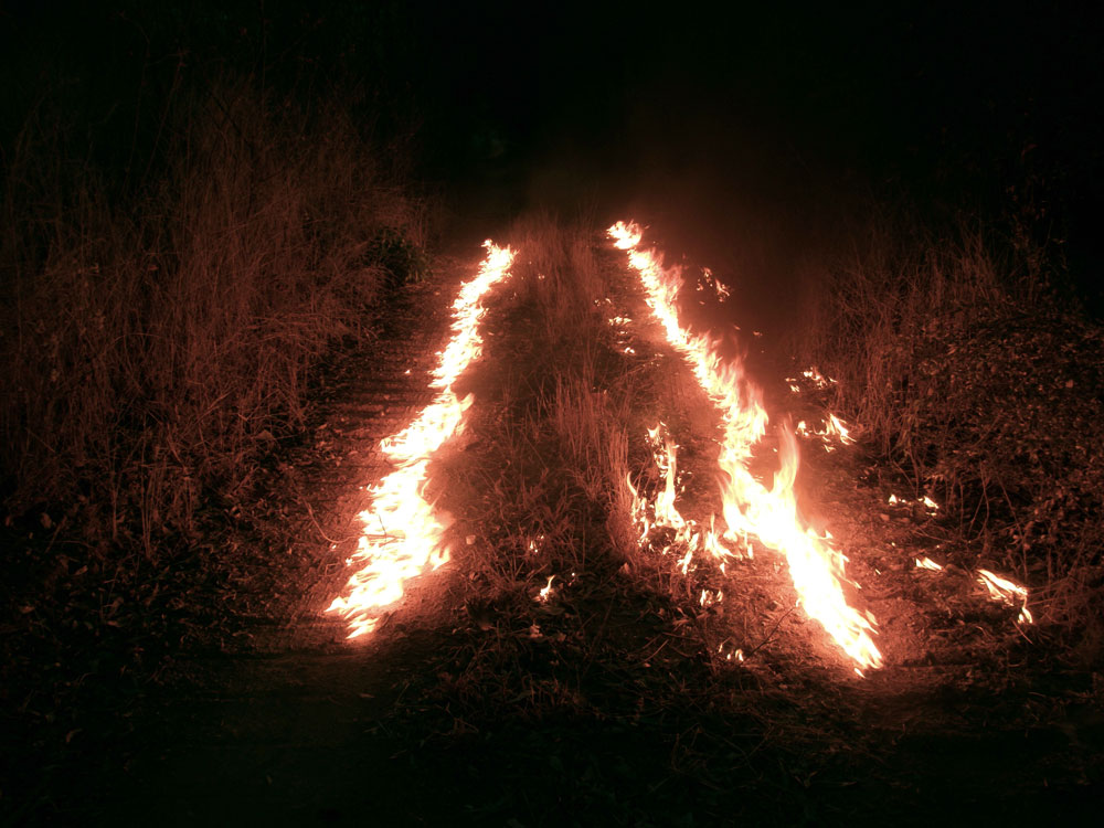 Edgardo Aragón, <em>Fire Line</em> from the series <em>Message/Warning</em>, 2007-2011, digital photograph, 63.5 cm x 91.44 cm. Courtesy of the artist and Proyectos Monclova.