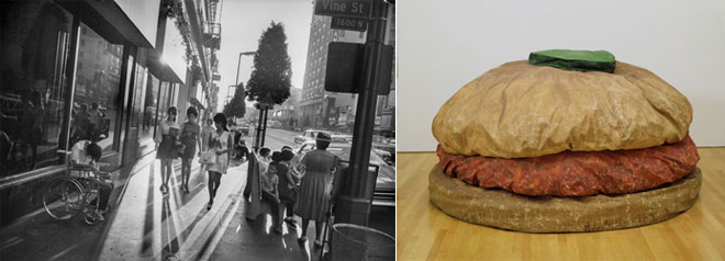 Left: Garry Winogrand, Los Angeles, California, 1969. Right: Claes Oldenburg, Floor Burger, 1962.