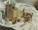 Bertram Brooker (Canadian, 1888 – 1955), <em>Fruit and Basket</em>, c. 1935, oil on canvas. Collection of the Toronto District School Board.  Acquired by Danforth Collegiate and Technical Institute.