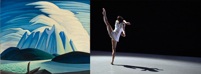 Left: Lake and Mountains by Lawren Harris, Right: ballerina