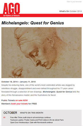 What's On at the AGO - October 2014 (screen shot)