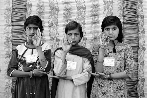 Gauri Gill (Indian), Sunita, Nirmala and Sita, from the series Balika Mela Portraits