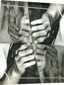 "Annie MacDonell, <em>Untitled Hand Collage</em>, 2009, 10"" x 10"", paper collage and tape."