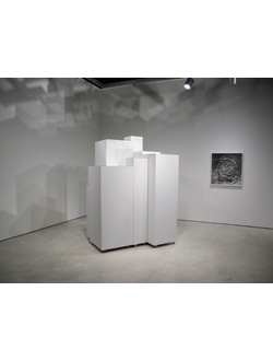 Annie MacDonell, Installation view: <em>Untitled Iceberg Sculpture</em>, painted mdf, casters, mirror, dimensions variable, 2010, part of <em>The Abyss and the Horizon</em> at the Art Gallery of Windsor, 2010