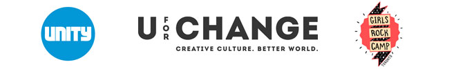 logos: UNITY Charity, UforChange, Girls Rock Camp