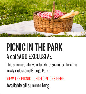 PICNIC IN THE PARK - A caféAGO EXCLUSIVE This summer, take your lunch to-go and explore the newly redesigned Grange Park. View the picnic lunch options here.