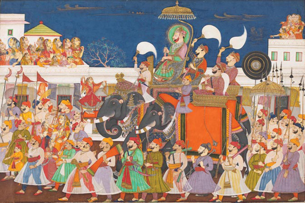 Procession of Raja Ram Singh II of Kota and his son at Kota
