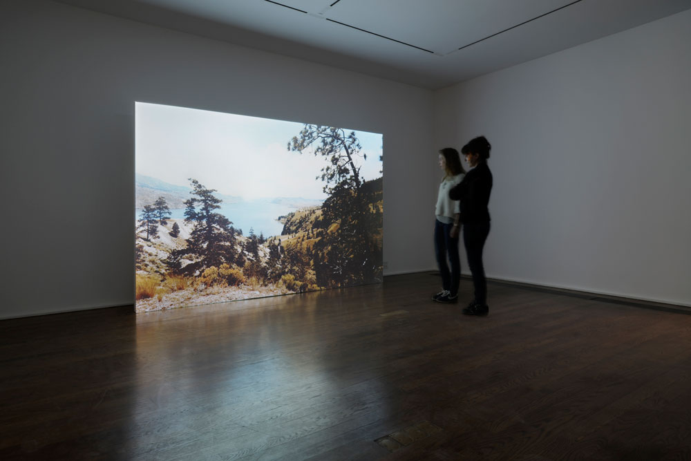 Erin Shirreff, installation view: <em>Lake</em>, video still, 2012, color video, silent, 44 minute loop, Hauser & Wirth, New York, N.Y.<br /> Photo by Genevieve Hanson.