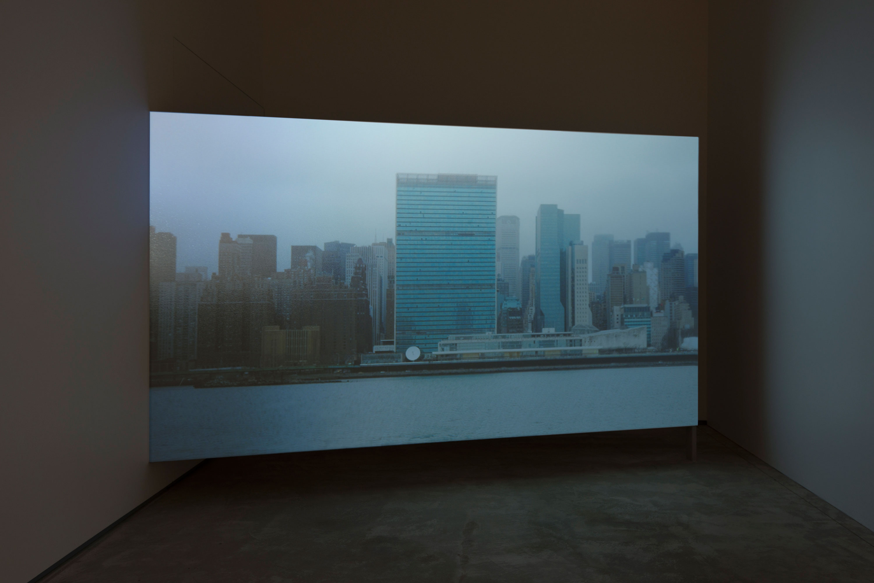 Erin Shirreff, installation view: <em>UN 2010</em>, video still, 2010, color video, silent, 17 minute loop, Agnes Etherington Art Centre, Kingston, Ontario. Photo by Paul Litherland.