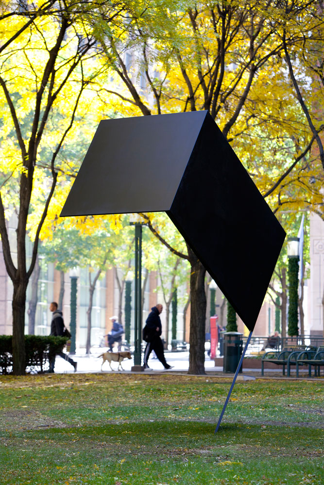 Erin Shirreff, <em>Sculpture for Snow</em>, 2011, painted aluminum, 346.7 cm x 137.2 cm x 293.4 cm, Public Art Fund, MetroTech Center, Brooklyn, New York. Photo by James Ewing.